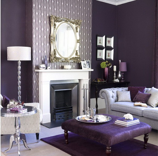 Pretty Purple Living Room.