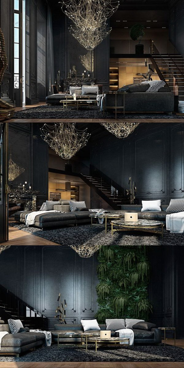 Mysterious And Luxurious Black Living Room.