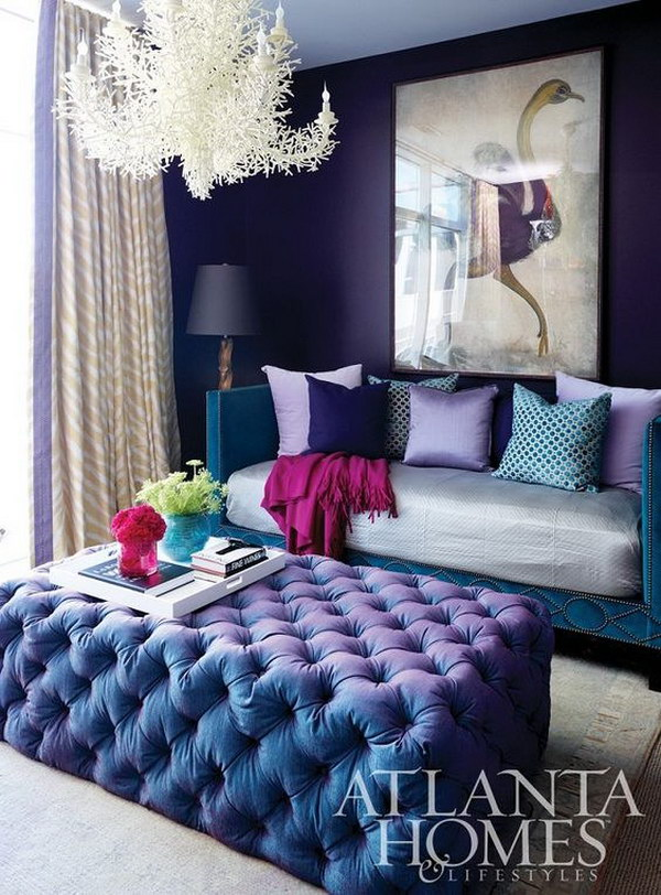 Living room with Royal Purple Painted Walls.