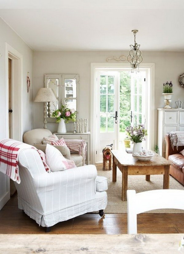 Country Cottage Living Room Decorating With White and Brown.