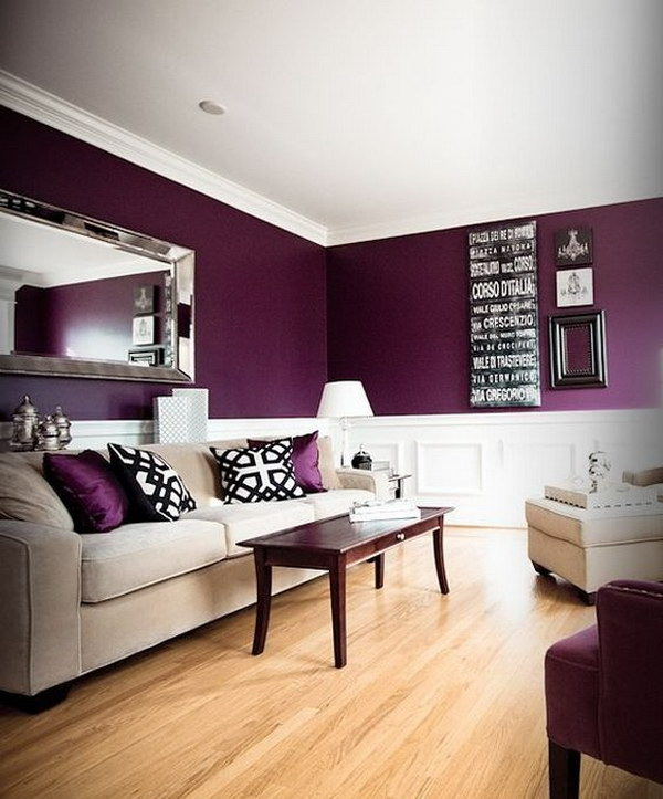 Exceptional White And Purple Living Room