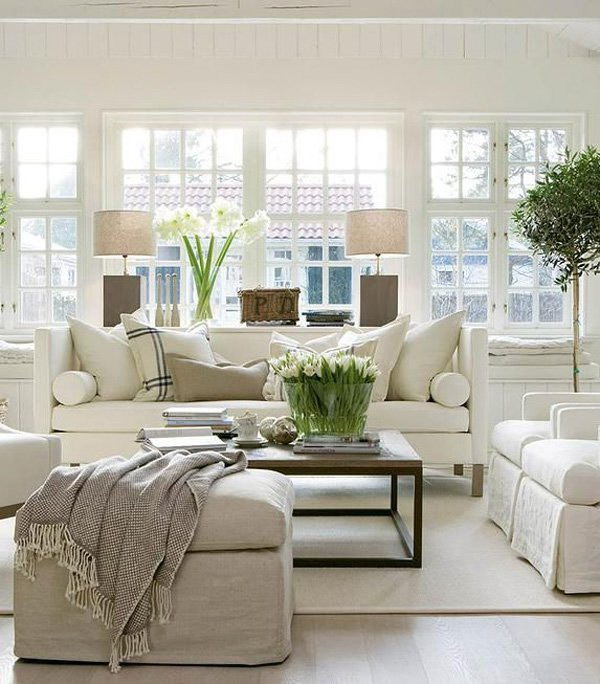 White Living Room Design and Decoration.