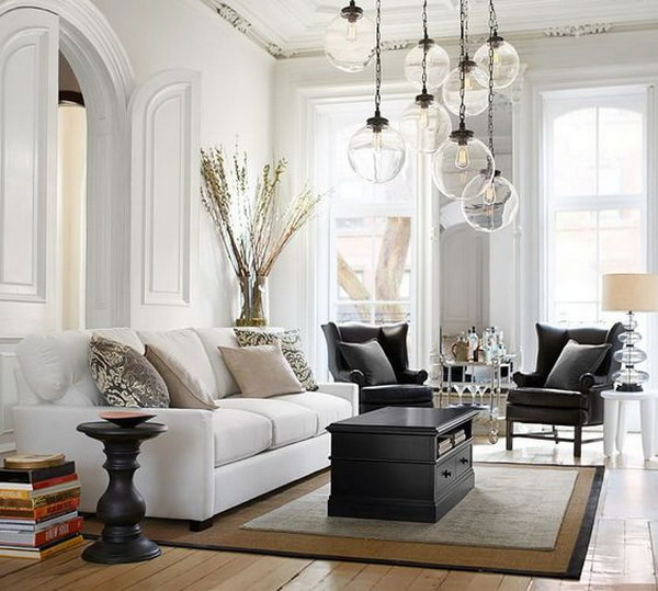 White and Dark Gray Living Room.