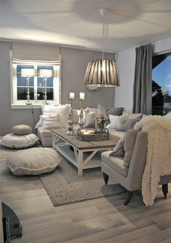 Nice Gray Themed Living Room Decoration