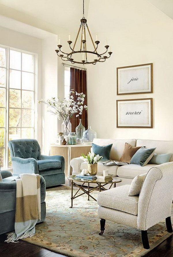 Beige and Blue Themed Living Room Decor.
