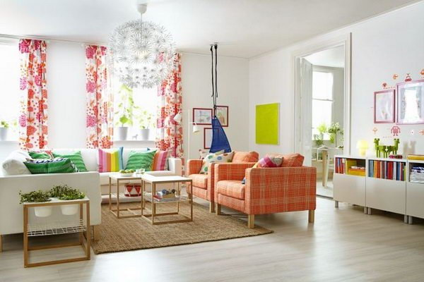 Living Room with Spring Colors.