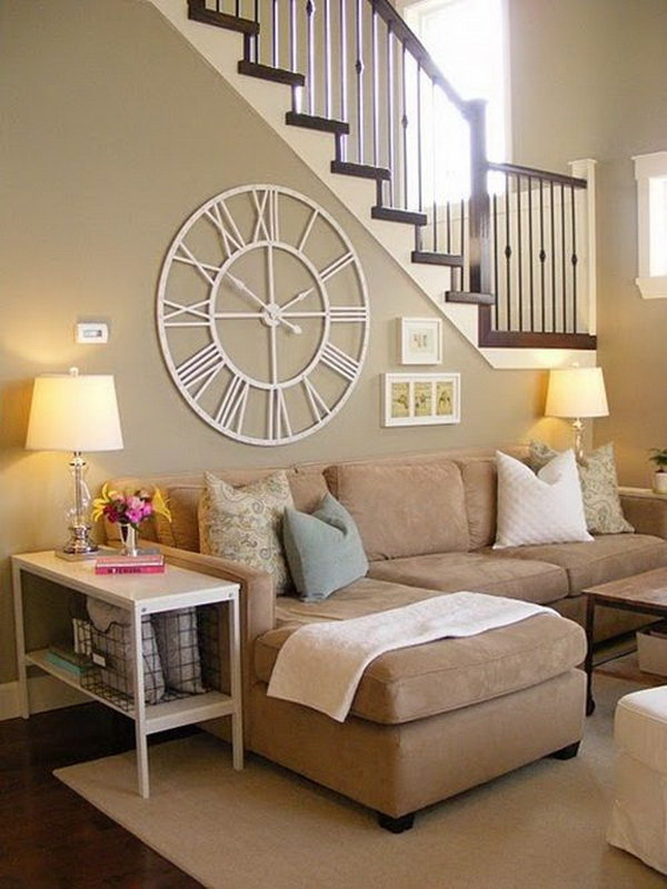 Living Room With A Large Clock