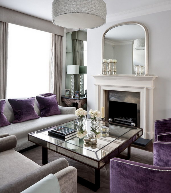 Gray and Purple Living Room.
