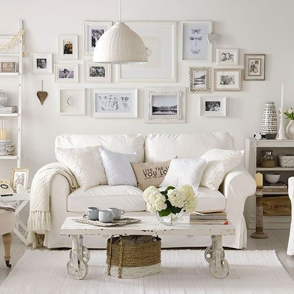 Soft white living room .