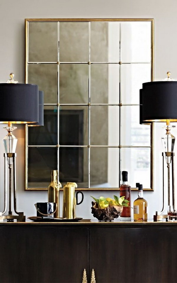 Gold Framed Paneled Mirror.