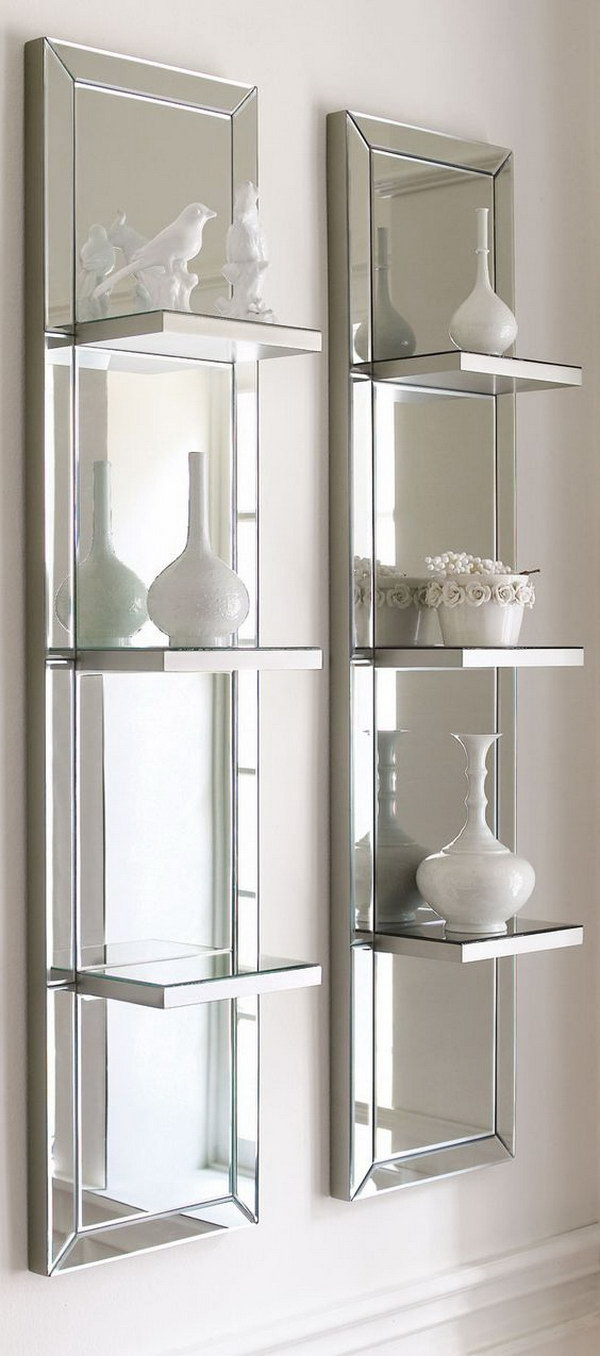 Mirrored Step Shelf Wall Panel.