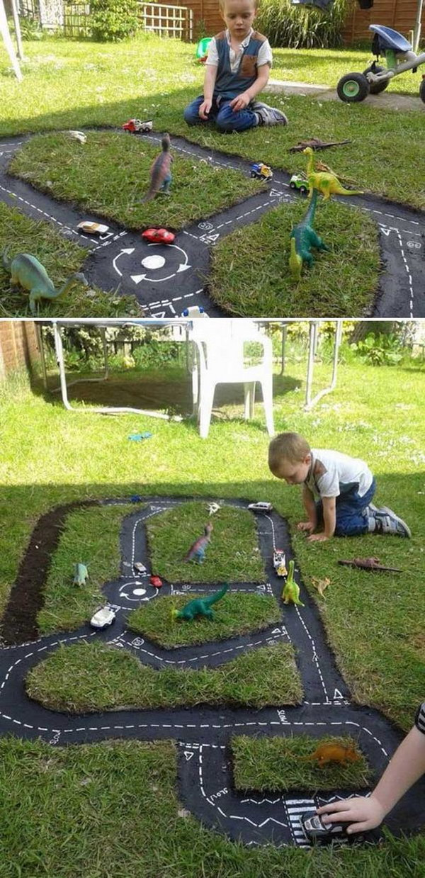 Backyard DIY Race Car Track.