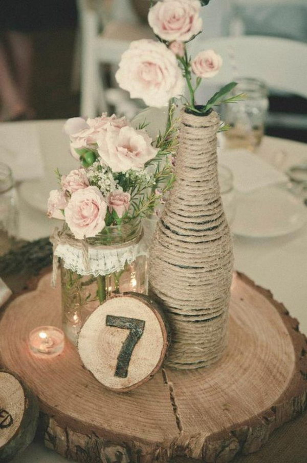 Rustic Lace Covered Mason Jar and Barn Rope Wrapped Glass Bottle Vases Centerpiece
