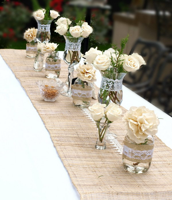 Cream Roses Mixed with Coffee Filter Flowers Table Decor
