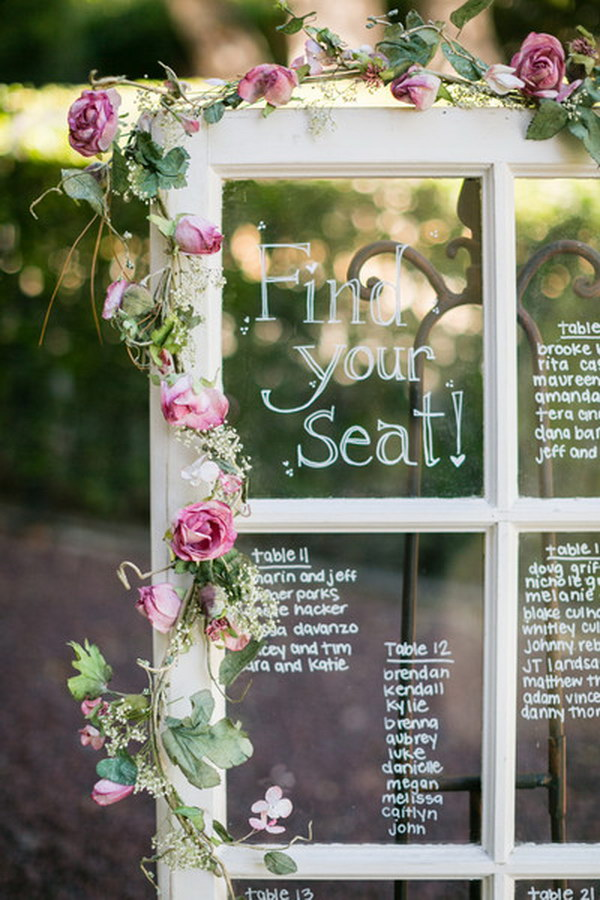 Window Frame Wedding Table Plan