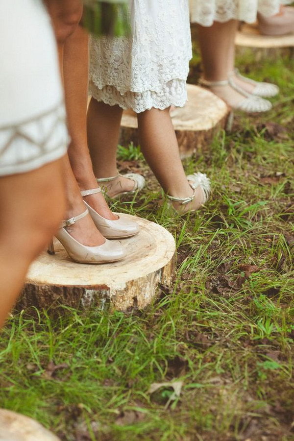 Wood Slices for Bridesmaids to Stand on for No Heels Stuck in the Dirt