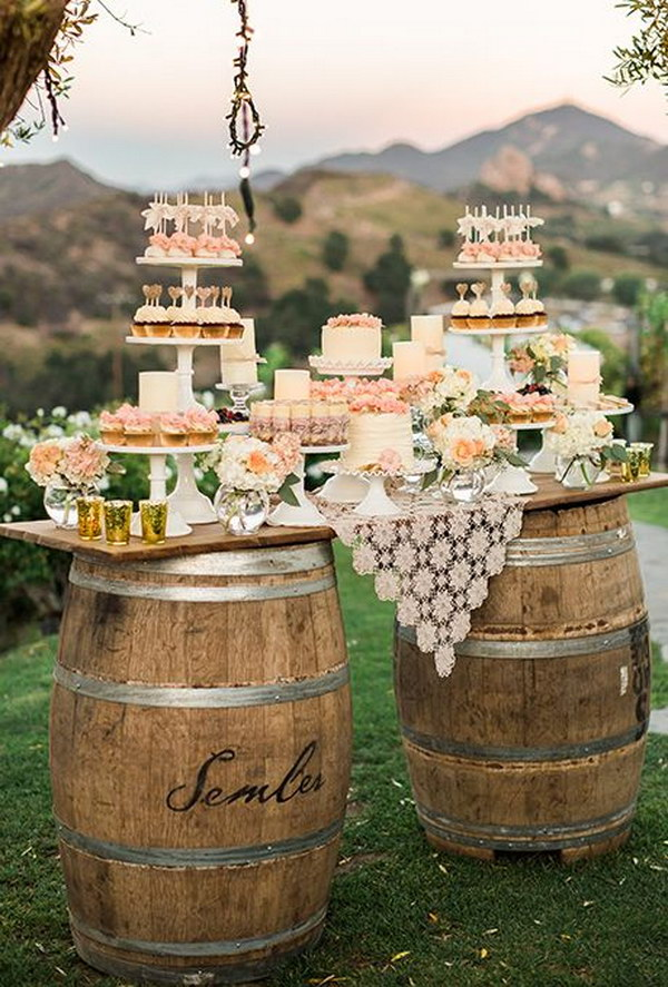 Wine Barrels Wedding Dessert Table