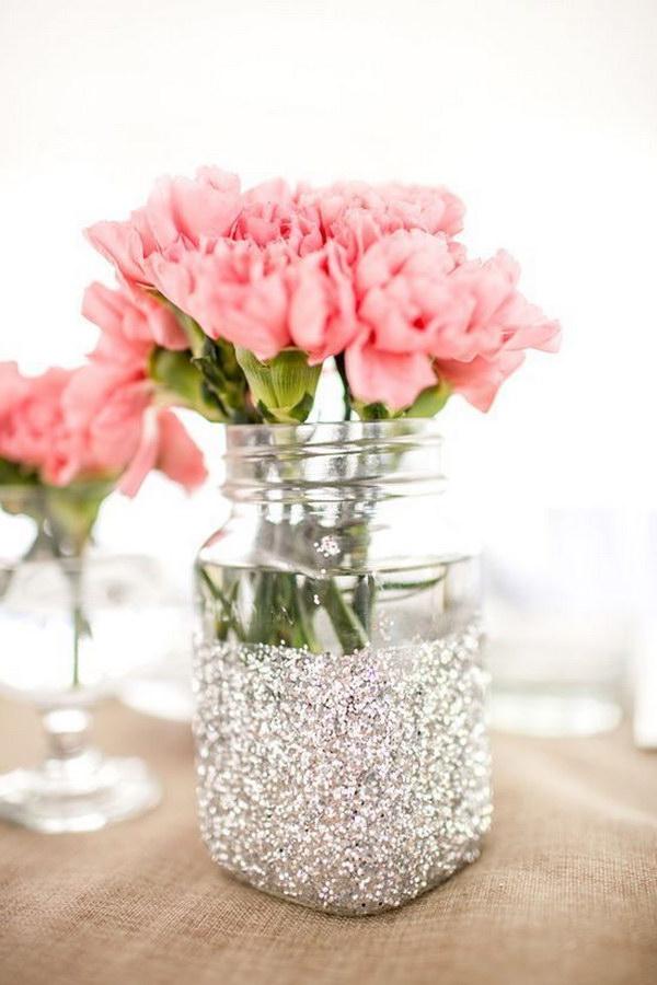 Glitter Mason Jar Tealight Holders字