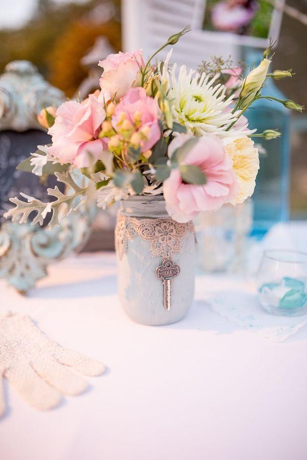 Painted Mason Jar with Lace and a Vintage Key Wedding Centerpiece