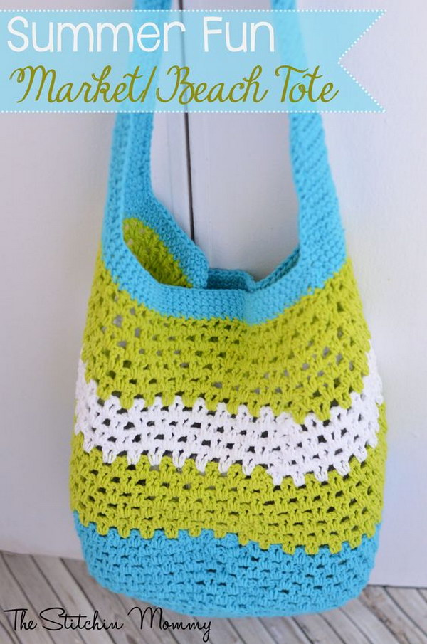 Crochet Market Beach Tote for Summer