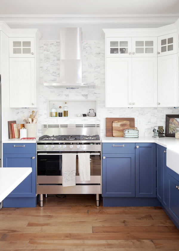 Fresh Kitchen with Blue and White Kitchen Cabinets.