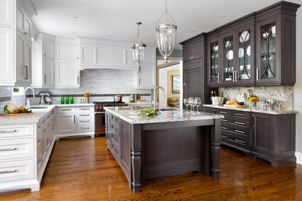 Dark Brown And White Two Tone Kitchen Cabinets with Extended Island.