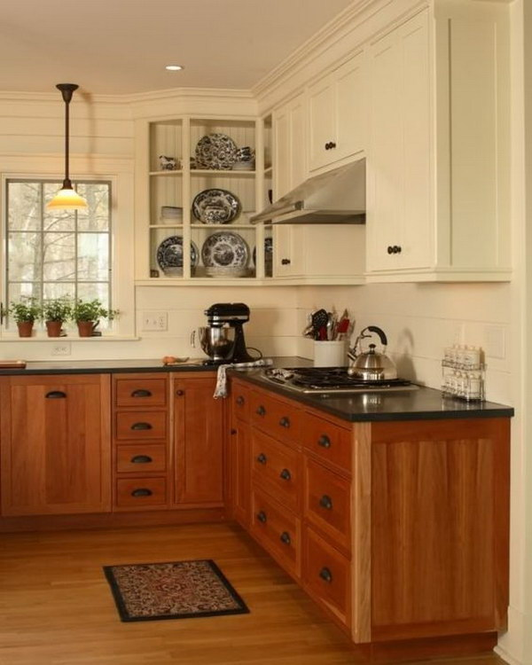 Off white and Warm Wood Kitchen Cabinets.