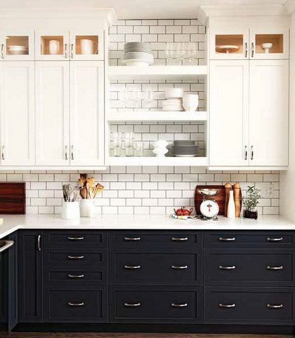 Whitewashed and Dark Gray Two Tone Kitchen Cabinets.