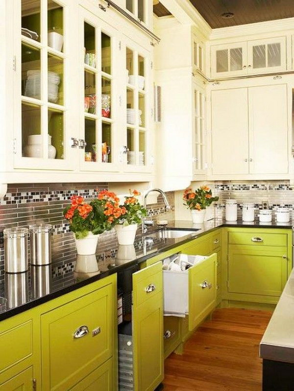 Cream and Green Kitchen Cabinets.