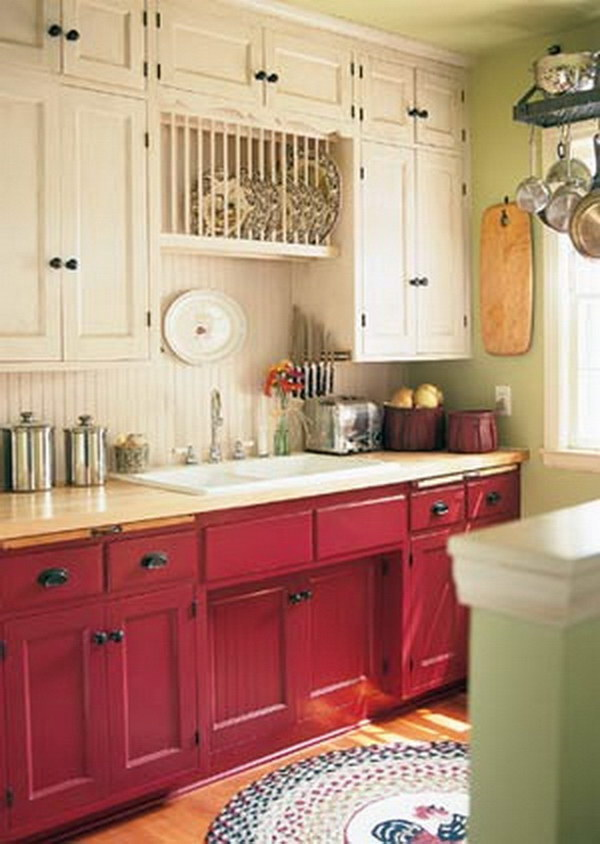 Cranberry colored and Cream Kitchen Cabinets.