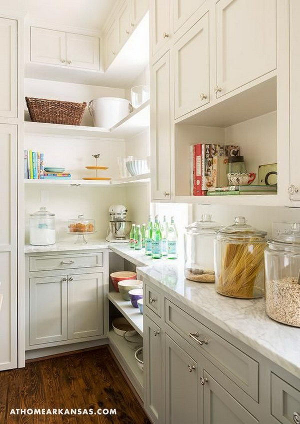 Two Tone Kitchen Pantry with Cream White and Gray Cabinets.