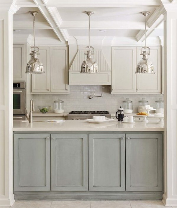 Two tone Kitchen Design with Gray green and Light Gray Cabinets and Island.