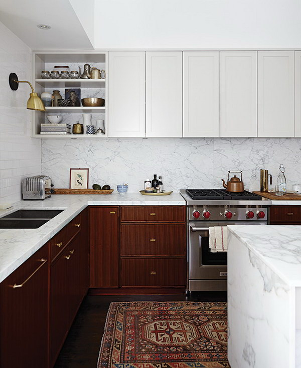 White and Warm Wood Brown Kitchen Cabinets.