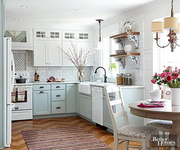 Pastel Blue and Off white Kitchen Cabinets.