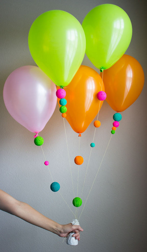 Decorateed Balloons With Painted Styrofoam Balls.
