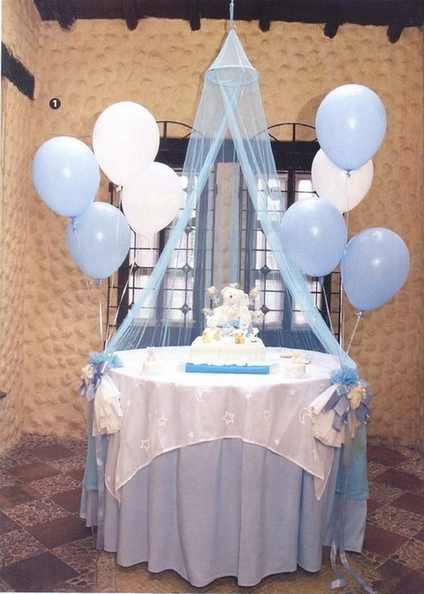 Light Blue And White Blloon Decoration.