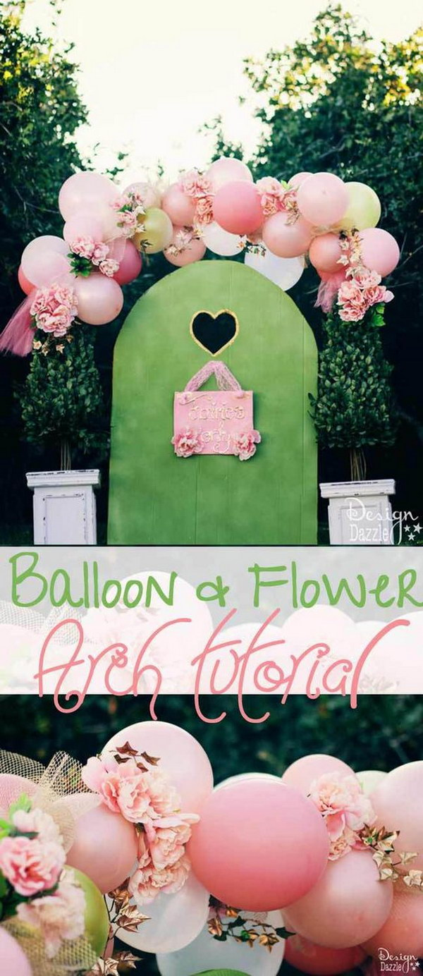 DIY Beautiful Balloons And Flowers Fairy Arch.