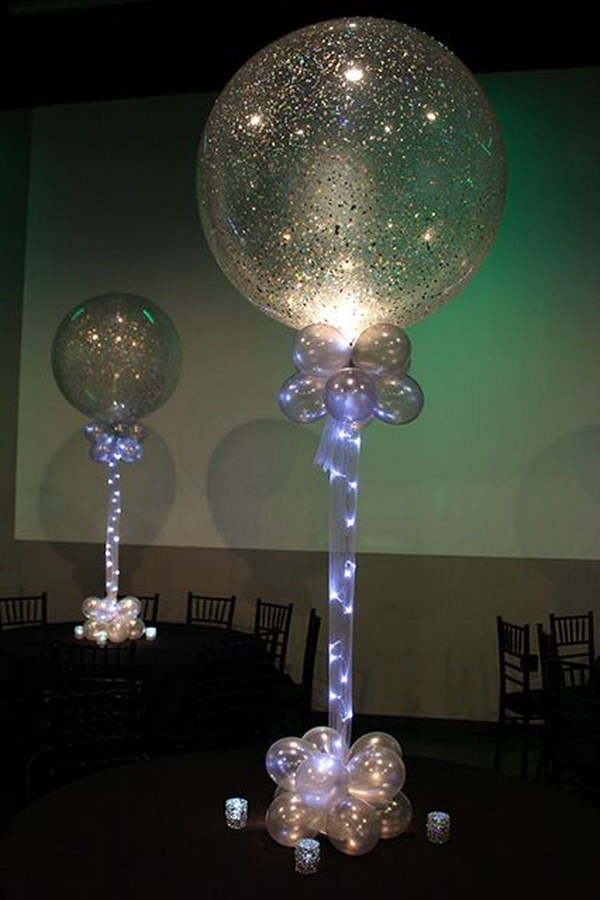 Silver Sparkle Balloons with Tulle and Rice Lights.