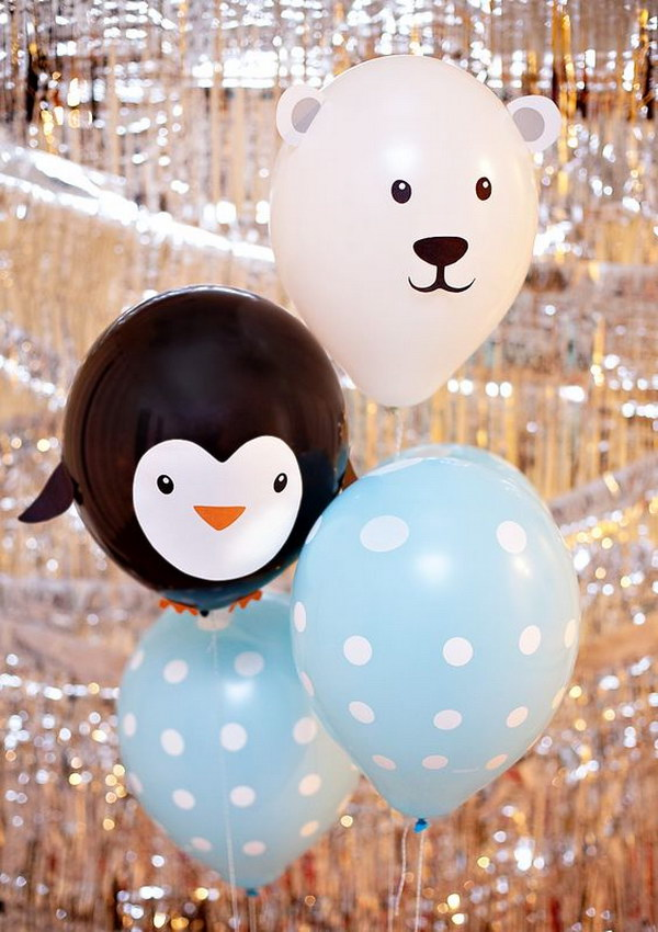 DIY Polar Bear and Penguin Balloons.