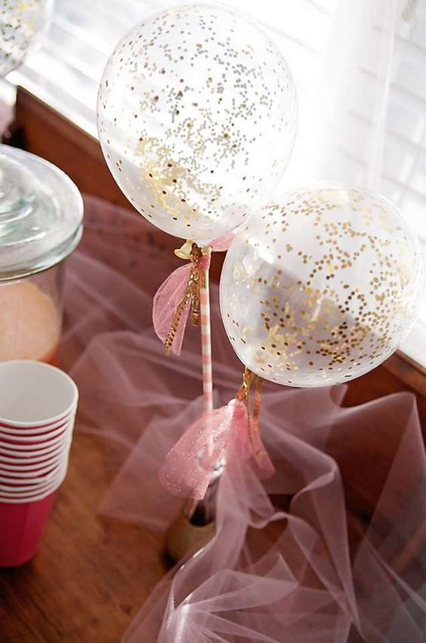 Glitter Balloon Garden Tea Party Centerpiece.