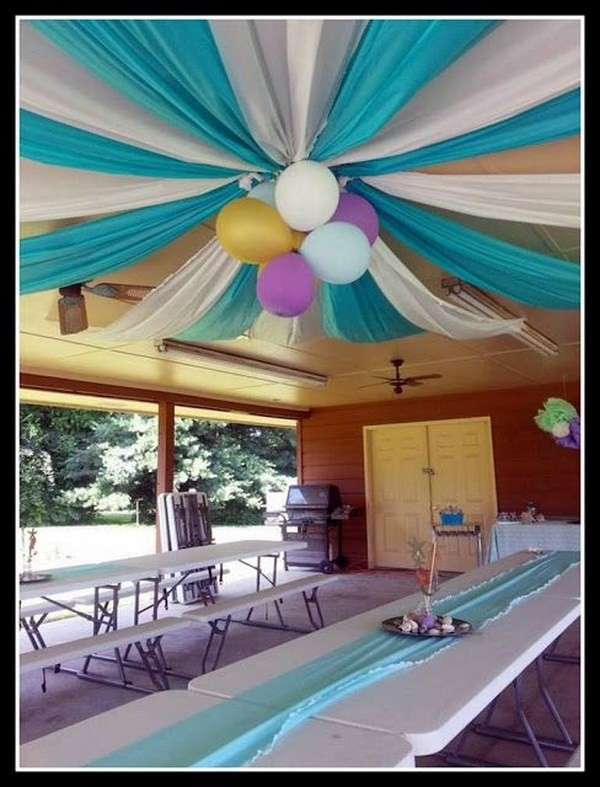 How to decorate ceiling with balloons without helium for Balloon decoration ideas no helium