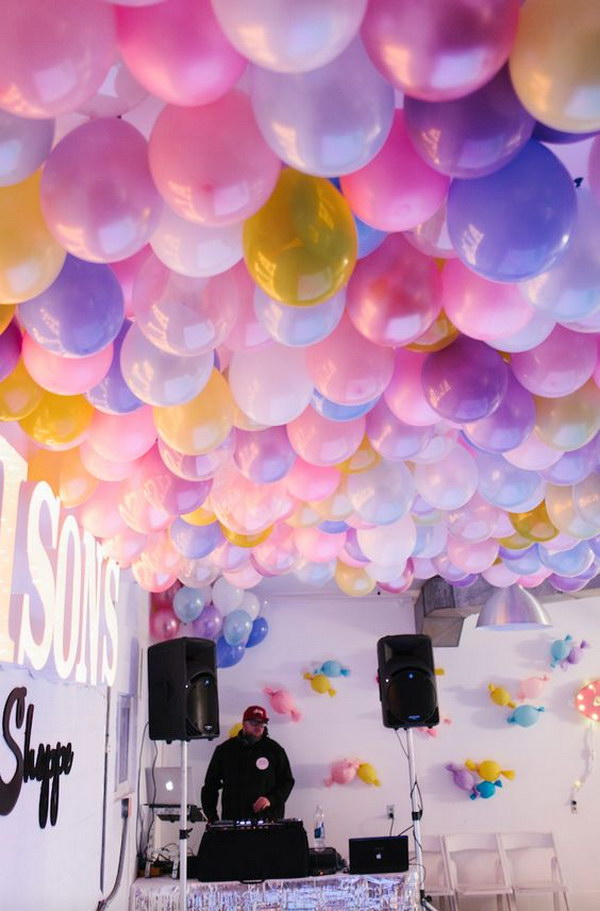 DIY Balloon Ceiling.