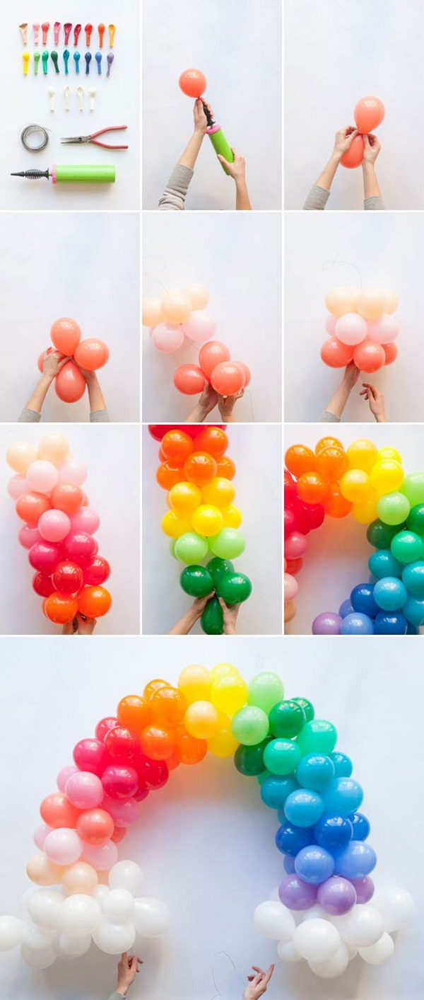 Mini Rainbow Balloon Arch DIY.