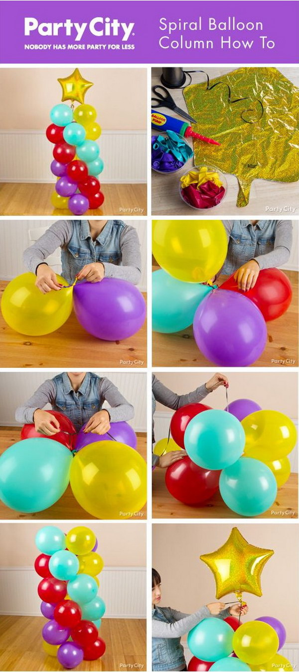 How to make balloon table decorations without helium for Balloon decoration ideas no helium