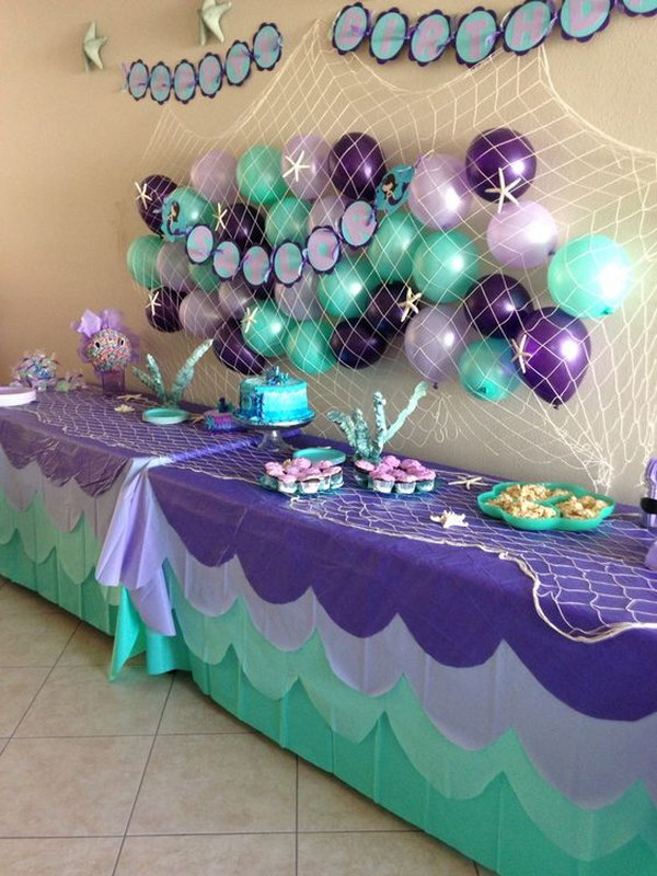 Mermaid Party Balloon Wall Decoration.