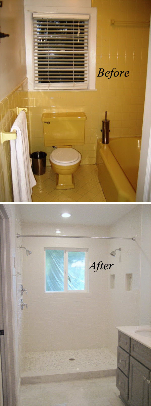 From Yellow to White Bathroom Renovation.