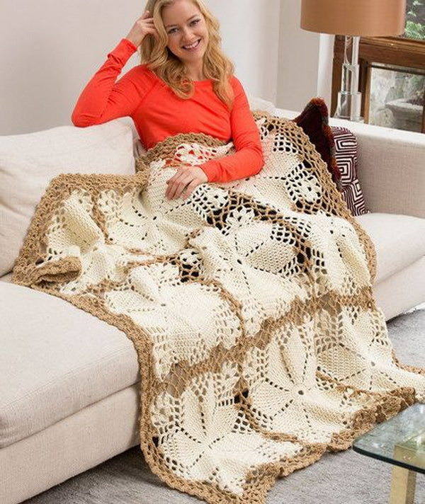 Crochet Lacy Floral Throw Blanket.