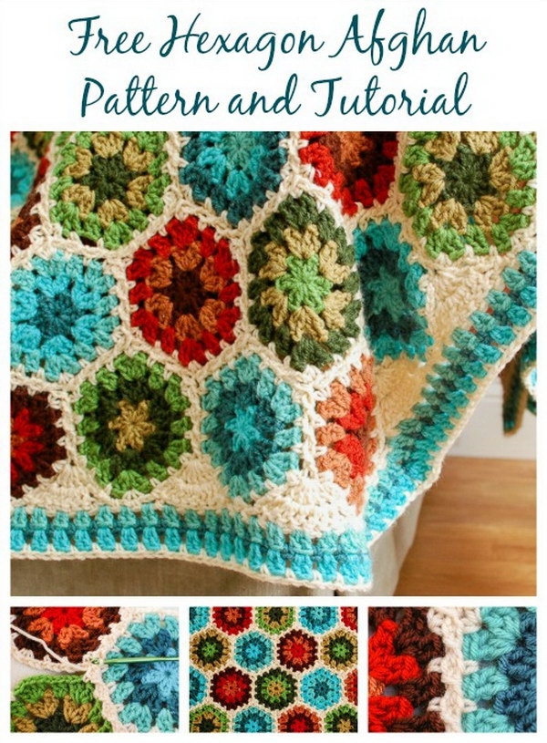 Crochet Hexagon Afghan Crochet Blanket.
