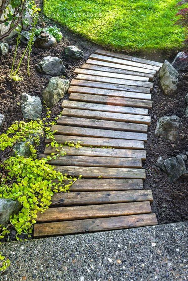 Diy Backyard Ideas 54 diy backyard design ideas diy backyard decor tips Pallet Wood Garden Walkway