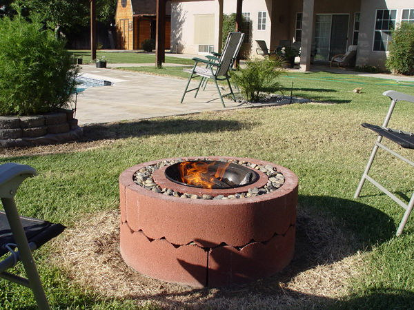 Concrete Tree Rings Fire Pit.